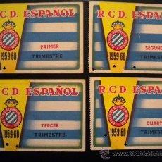 Coleccionismo deportivo: LOTE DE CARNET DEL REAL CLUB DEPORTIVO ESPAÑOL 1959-1960.COMPLETO.. Lote 34040765