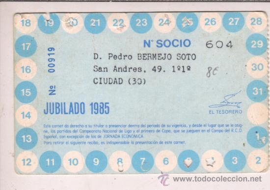 Coleccionismo deportivo: carnet socio jubilado - real club deportivo español 1985 - Foto 2 - 35505466