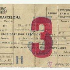 Coleccionismo deportivo: CAMBIO DE LOCALIDAD PARA EL ABONO CLUB DE FUTBOL BARCELONA 7-2-1958.. Lote 36600080