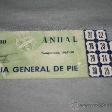 Coleccionismo deportivo: CARNET DE SOCIO DEL LEVANTE ABONO ANUAL TEMPORADA 57-58. Lote 37257785