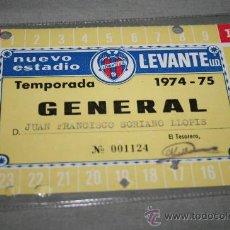 Coleccionismo deportivo: CARNET DE SOCIO DEL LEVANTE ANUAL TEMPORADA 74-75. Lote 37267461
