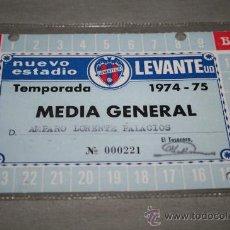 Coleccionismo deportivo: CARNET DE SOCIO DEL LEVANTE ANUAL TEMPORADA 74-75. Lote 37267471