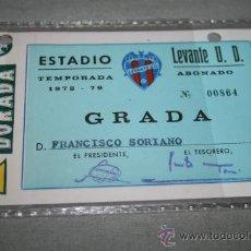 Coleccionismo deportivo: CARNET DE SOCIO DEL LEVANTE ANUAL TEMPORADA 78-79. Lote 37267498