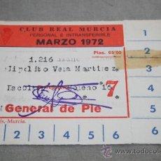 Coleccionismo deportivo: CARNET DE SOCIO DEL MURCIA TEMPORADA 71-72. Lote 38964344
