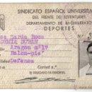 Coleccionismo deportivo: CARNET FUTBOLISTA DEL SINDICATO ESPAÑOL UNIVERSITARIO- FRENTE DE JUVENTUDES- ACADEMIA DURAN.. Lote 39415036