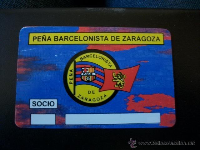 ANTIGUO CARNET SOCIO PEÑA BARCELONISTA DE ZARAGOZA BARCELONA FUTBOL BARÇA (Coleccionismo Deportivo - Documentos de Deportes - Carnet de Socios)