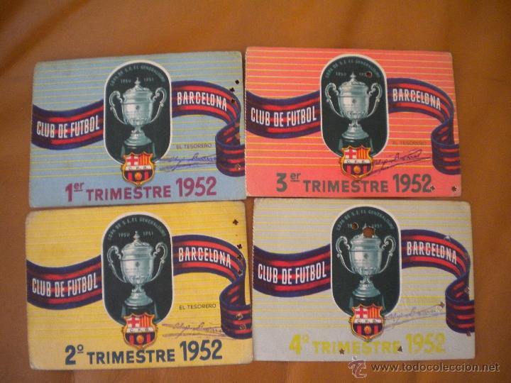 LOTE DE LOS 4 CARNET DEL CLUB DE FUTBOL BARCELONA TEMPORADA 1952. (Coleccionismo Deportivo - Documentos de Deportes - Carnet de Socios)