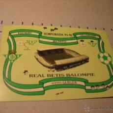 Coleccionismo deportivo: CARNET SOCIO REAL BETIS BALOMPIE. ESTADIO BENITO VILLAMARIN. TEMPORADA 91-92. Lote 40620444