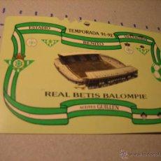 Coleccionismo deportivo: CARNET SOCIO REAL BETIS BALOMPIE. ESTADIO BENITO VILLAMARIN. TEMPORADA 91-92. Lote 40620450