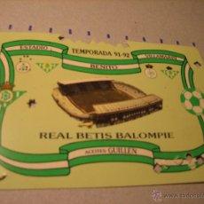 Coleccionismo deportivo: CARNET SOCIO REAL BETIS BALOMPIE. ESTADIO BENITO VILLAMARIN. TEMPORADA 91-92. Lote 40620466