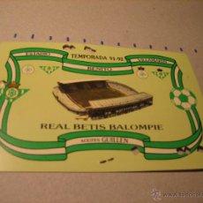 Coleccionismo deportivo: CARNET SOCIO REAL BETIS BALOMPIE. ESTADIO BENITO VILLAMARIN. TEMPORADA 91-92. Lote 40620476