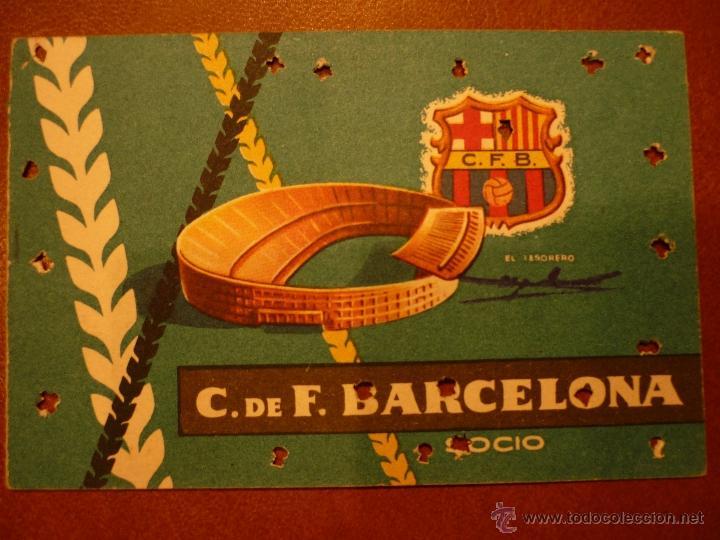CARNET DE FÚTBOL BARCELONA , ANUAL , 1959 . (Coleccionismo Deportivo - Documentos de Deportes - Carnet de Socios)