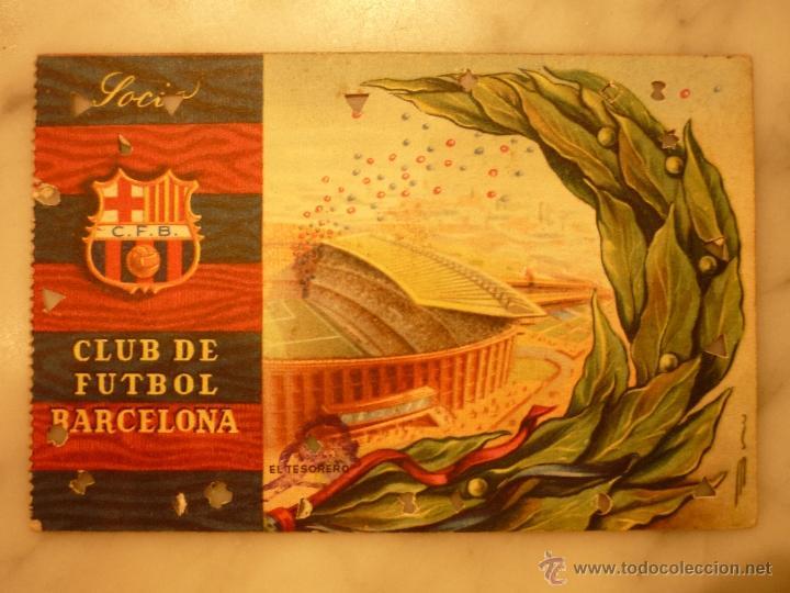CARNET DE SOCIO , CLUB DE FÚTBOL BARCELONA , ANUAL 1958 . (Coleccionismo Deportivo - Documentos de Deportes - Carnet de Socios)