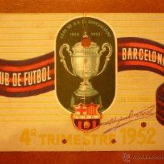 Coleccionismo deportivo: CARNET DE SOCIO , CLUB DE FÚTBOL BARCELONA , 1952 , 4TO TRIMESTRE.. Lote 41062563
