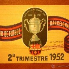 Coleccionismo deportivo: CARNET DE SOCIO , CLUB DE FÚTBOL BARCELONA , 1952 , 2DO TRIMESTRE .. Lote 41062632