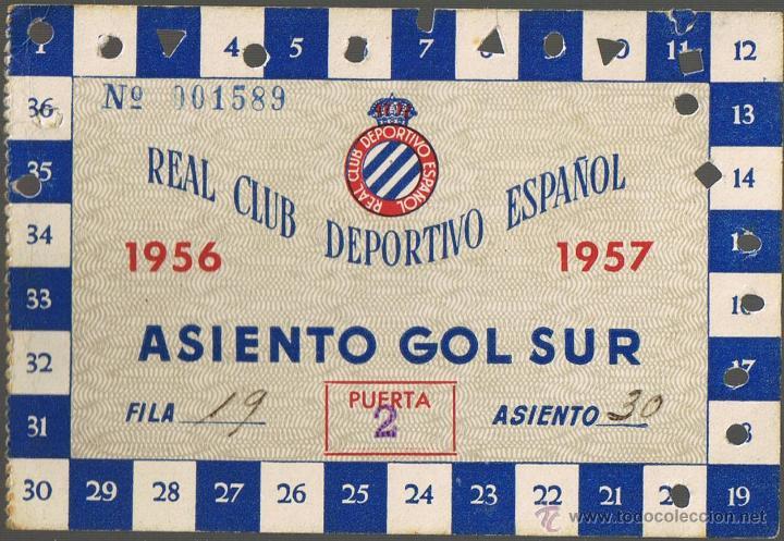 CARNET SOCIO REAL CLUB DEPORTIVO ESPAÑOL - 1956-1957 - ASIENTO GOL SUR - Nº 001589 - FOTO ADICIONAL (Coleccionismo Deportivo - Documentos de Deportes - Carnet de Socios)
