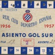Coleccionismo deportivo: CARNET SOCIO REAL CLUB DEPORTIVO ESPAÑOL - 1956-1957 - ASIENTO GOL SUR - Nº 001589 - FOTO ADICIONAL. Lote 41246989