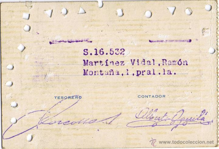 Coleccionismo deportivo: CARNET SOCIO REAL CLUB DEPORTIVO ESPAÑOL - 1956-1957 - ASIENTO GOL SUR - Nº 001589 - FOTO ADICIONAL - Foto 2 - 41246989