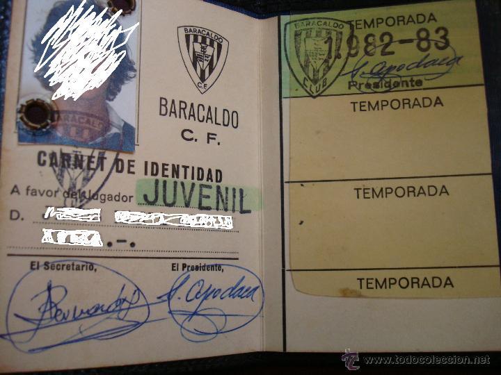 CARNET DEL JUGADOR DE FUTBOL JUVENIL DE BARACALDO C.F, TEMPORADA 1982-83 (Coleccionismo Deportivo - Documentos de Deportes - Carnet de Socios)