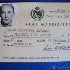 Coleccionismo deportivo: (F-465)CARNET DE CESAR RODRIGUEZ,EX-JUGADOR C.F.BARCELONA,PEÑA MADRIDISTA DE ELCHE. Lote 43008538