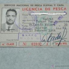 Coleccionismo deportivo: LICENCIA DE PESCA, SERVICIO NACIONAL DE PESCA FLUVIAL Y CAZA, 17 DE FEBRERO 1964, TAL COMO SE VE EN . Lote 43762562
