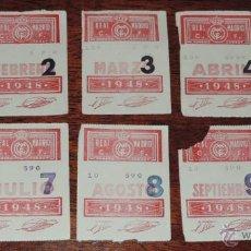Coleccionismo deportivo: 1948, 8 CUPONES DE SOCIO DEL REAL MADRID 1948, EXCELENTE., TAL COMO SE VE EN LAS FOTOS PUESTAS.. Lote 43834491