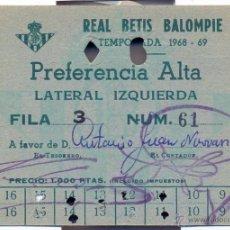 Coleccionismo deportivo: REAL BETIS BALOMPIE, CARNET SOCIO TEMPORADA 1968-69. Lote 45753065