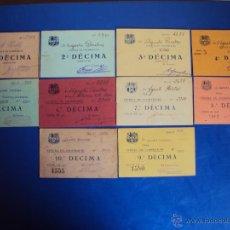 Coleccionismo deportivo: (F-1077)LOTE DE 10 DECIMAS CEDULA DE COOPERACIO , F.C.BARCELONA AÑOS 20 Y 30. Lote 45956230