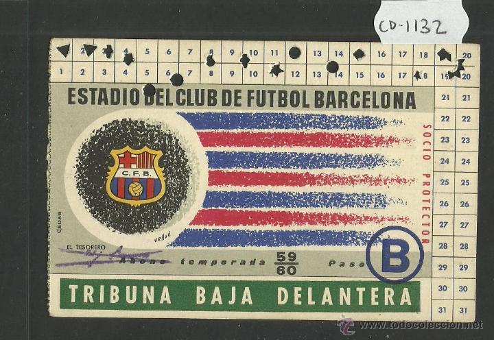 CLUB DE FUTBOL BARCELONA - ABONO - TRIBUNA BAJA - TEMPORADA 1959 1960 - BARÇA - (CD-1132) (Coleccionismo Deportivo - Documentos de Deportes - Carnet de Socios)