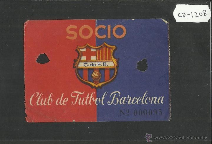 CLUB DE FUTBOL BARCELONA - ENTRADA DE SOCIO - REVERSO PUBLICIDAD CUCHILLAS IBERIA - (CD-1208) (Coleccionismo Deportivo - Documentos de Deportes - Carnet de Socios)