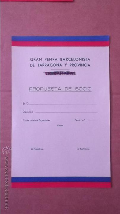 SOLICITUD CARNET SOCIO PEÑA BARCELONISTA TARRAGONA CAMARLES AÑOS 60 FUTBOL CLUB BARCELONA BARÇA (Coleccionismo Deportivo - Documentos de Deportes - Carnet de Socios)
