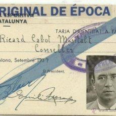 Coleccionismo deportivo: (F-0257)CARNET DE CONSELLER DE RICARD CABOT DE LA MUTUAL ESPORTIVA DE CATALUNYA-GUERRA CIVIL. Lote 47816211