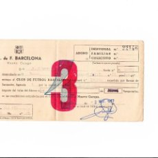 Coleccionismo deportivo: SOCIO BARCELONA DOCUMENTO ABONO PARA VARIOS AÑOS PARA EL NUEVO CAMPO. AÑO 1957. Lote 48541142