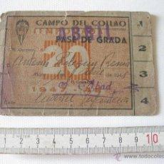 Coleccionismo deportivo: PASE DE GRADA PARA ABRIL DE 1948. CAMPO DEL COLLAO. C. D. ALCOYANO. ALCOY (ALICANTE, VALENCIA).. Lote 49963436