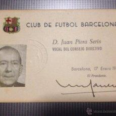 Coleccionismo deportivo: CARNET FUTBOL CLUB FC BARCELONA F.C BARÇA CF DON JUAN PIERA SERIS VOCAL DEL CONSEJO DIRECTIVO 1968. Lote 50295293