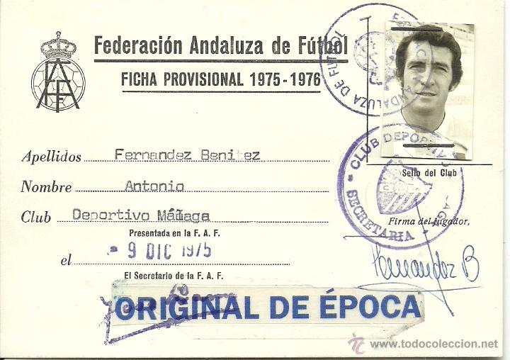 (F-0856)FICHA DE JUGADOR PROFESIONAL 1975-76,ANTONIO FERNANDEZ BENITEZ,C.D.MALAGA (Coleccionismo Deportivo - Documentos de Deportes - Carnet de Socios)