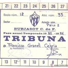 Coleccionismo deportivo: ANTIGUO CARNET DE FUTBOL PASE TRIBUNA ABONO DE 1985 86 BURJASOT DE VALENCIA. Lote 51108489