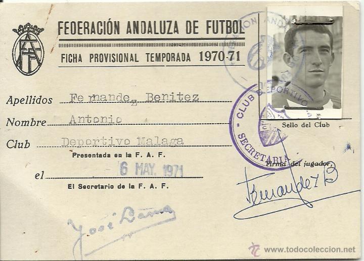 (F-0925)FICHA DE JUGADOR DE ANTONIO FERNANDEZ BENITEZ,C.D.MALAGA,1970-71 (Coleccionismo Deportivo - Documentos de Deportes - Carnet de Socios)