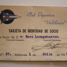 Coleccionismo deportivo: TARJETA DE IDENTIDAD DE SOCIO. C.D. VALLDOREIX 1943. Lote 51996476