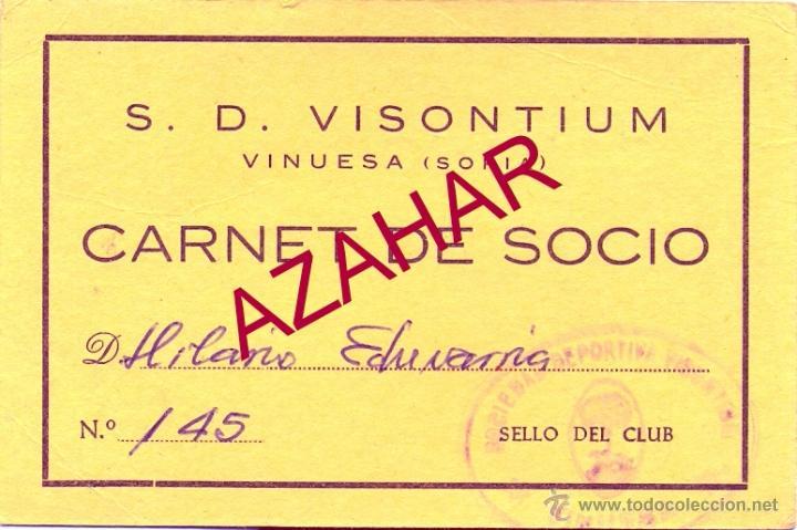 VINUESA, SORIA, ANTIGUO CARNET S.D.VISONTIUM (Coleccionismo Deportivo - Documentos de Deportes - Carnet de Socios)
