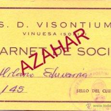 Coleccionismo deportivo: VINUESA, SORIA, ANTIGUO CARNET S.D.VISONTIUM. Lote 52326973