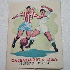 Coleccionismo deportivo: CALENDARIO DE LIGA 1953-54 PRIMERA DIVISION - BRIAM INSTITUTE, IDIOMAS. Lote 52675076