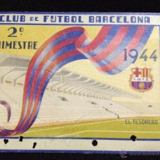 Coleccionismo deportivo: CARNET DE SOCIO FUTBOL CLUB FC BARCELONA F.C BARÇA CF SEGUNDO TRIMESTRE 1944. Lote 53355374