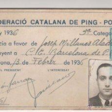 Carnet FEDERACIO CATALANA DE PING-PONG. Barcelona. Any 1936. República. Original