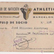 Coleccionismo deportivo: CARNET CLUB DE NATACION ATHLETIC. BARCELONA. AÑO 1939. ORIGINAL. Lote 53682069