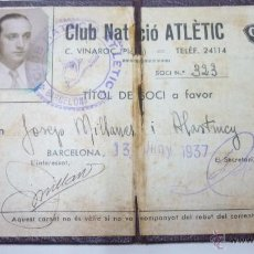 Coleccionismo deportivo: CARNET CLUB NATACIÓ ATLÈTIC. BARCELONA. JUNY 1937. RARO. Lote 53761043