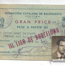GRAN PRICE CARNET III LIGA DE BARCELONA FEDERACION CATALANA BALONCESTO FEB FIBA 1955-56 BASKET (5