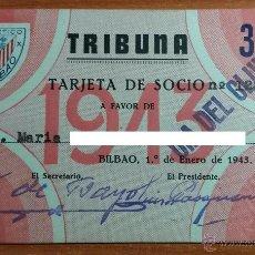 Coleccionismo deportivo: TARJETA DE SOCIO DEL ATHLETIC CLUB DE BILBAO DEL AÑO 1943. Lote 54431003
