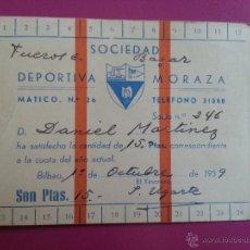 Coleccionismo deportivo: CARNET SOCIO DE LA SOCIEDAD DEPORTIVA MORAZA AÑO 1959 - BILBAO. Lote 54490548