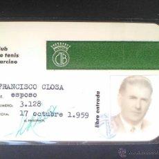 Coleccionismo deportivo: CLUB DE TENIS BARCINO CARNET SOCIO 1959 FOTO FRANCISCO CLOSA Mº 3.128. Lote 54603478